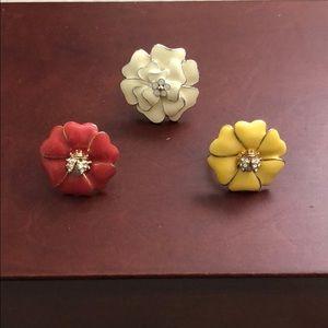 Set of three flower rings